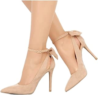 Womens High Heels Pointed Toe Bowtie Back Ankle Buckle...