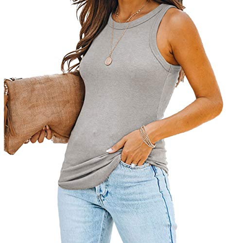 Womens Summer Casual Ladies Soft Grey Ribbed Tank Tops Camisole Shirts Cute Soild Basic Gray Sleeveless Racerback Slim Fit Workout Teen Girls Nursing Knit Cami Tank Tops Blouses Clothing Grey Small