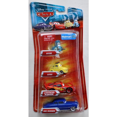 Disney / Pixar CARS Movie Exclusive 155 Die Cast 4Pack Guido, Luigi, Lightning McQueen Doc Hudson