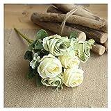 WXL Ramo de flores artificiales de seda con 6 cabezas, flores artificiales para decoración de interiores de boda, flores artificiales (color: 5)