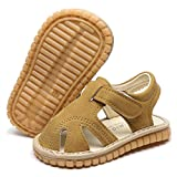 LAFEGEN Baby Boy Girl Squeaky Summer Sandals Non Slip Soft Sole Closed Toe Infant Toddler First Walker Crib Shoes, 4 Toddler, 02 Brown