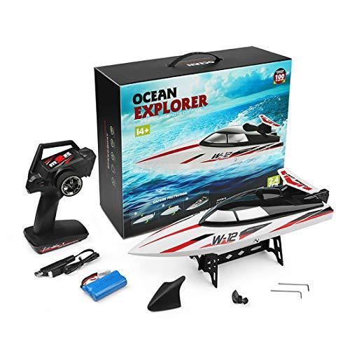 CALEN Barco de control remoto, 35 km/h 2.4 g, interruptor de agua para barco, barco de carreras de alta velocidad, juguete doble impermeable con baterías, barco de velocidad apto para niños y adultos