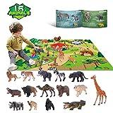 Jouets pour Animaux pour 3 4 5 6 Ans Enfants Jungle Wild Set Jouets éducatifs pour Animaux en Plastique avec Tapis de Jeu Lion Tiger Party Cadeaux pour garçons, Filles et Enfants