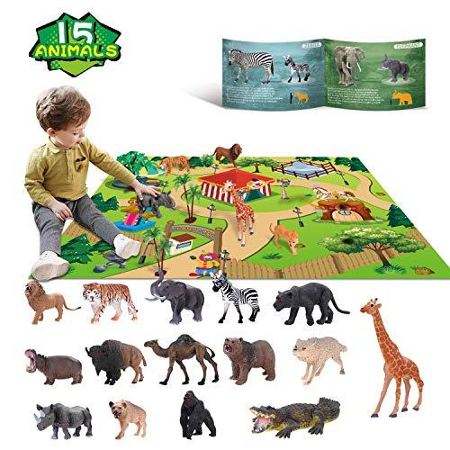giocattoli animali Set di giochi di Giocattoli educativi selvaggi di giungla di plastica con game pad Leone Tigre Regalo di preferenza per feste per 3 4 5 6 7 Ragazzi, ragazze, bambini