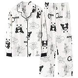 DFDLNL Conjunto de Pijamas para Mujer Panda con Cuello Vuelto Ropa de Dormir Pijama de algodón de Manga Larga para Mujer Pijama Informal para el hogar L