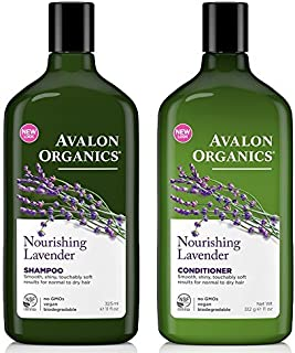 Avalon Organics All Natural Lavender Nourishing Shampoo and Conditioner With Aloe, Lavender, Chamomile, Peppermint and Bab...