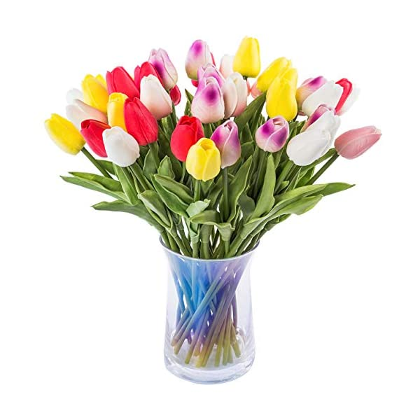 JOEJISN 30 pcs Real-Touch Artificial Tulip Flowers Home Wedding Party Decor