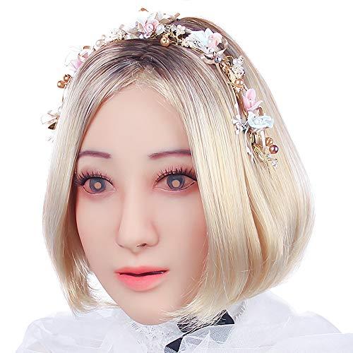 CYOMI Silikon-Maske realistisch Gesichtsmaske Crossdresser Transgender Transvestiten Drag Queen Karneval Cosplay Halloween Oktoberfest Maskerade - Angelas Frauenmaske voller Kopf - 1. Generation