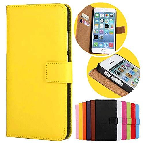 Roar Handy Hülle für Motorola Moto G (G2, 2.Generation), Handyhülle Gelb, Tasche Handytasche Schutzhülle, Kartenfach & Magnet-Verschluss