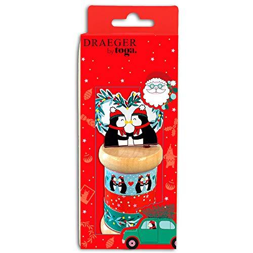Toga Masking-Tape de Noël, Rouge et Vert, 3X 5m, Set de 5 Pièces