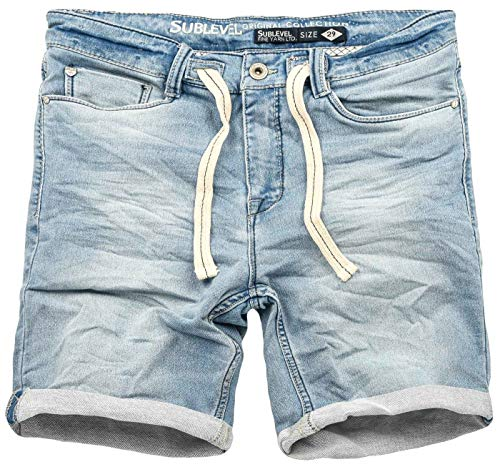 Sublevel Herren Sweat Jeans Shorts Kurze Hose Bermuda Sommer Sweathose Slim [B585-Hellblau-Washed-W32]