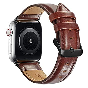 Compatible with Apple Watch Band 44mm 42mm for iWatch Bands Series 6 SE 5 4 3 2 1 MAPUCE Genuine Leather Band Replacement Strap Wristband for Men  Dark Brown