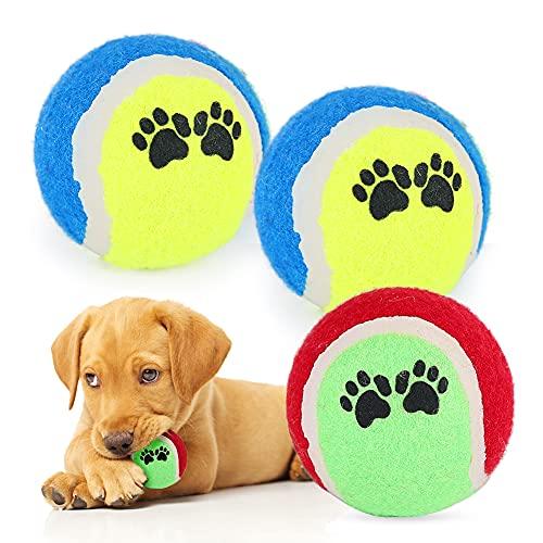 Premium Naturkautschuk Hundeball, Kauspielzeug für Hunde, Tennisball Hund Kaut Spielzeug Outdoor, Langlebiges Hundespielball für Kleine und Mittlere Hunde (3 Stück)