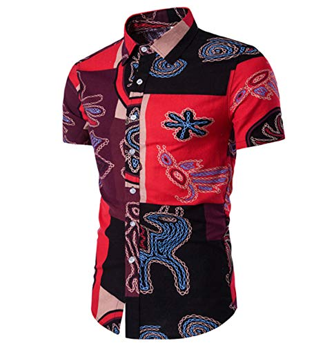 Herren Hawaiihemd Kurzarm Leinenhemd Strand Blumen Hemd Sommer Freizeithemd Casual Shirt