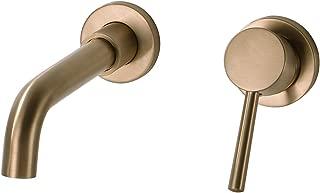 BESTILL Brass Single Handle Wall Mount Bathroom Sink Faucet, Champagne Bronze
