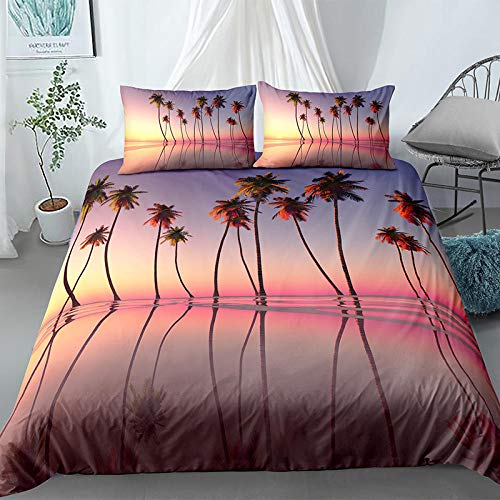 Rnvvaceo Bedding Set with Duvet Cover Pillow Case, 3 Piece Microfiber 3D Beach coconut tree sunset landscape Bedroom Duvet Cover Set Duvet Set Quilt Case for Double King Single Bed ( Double size 200