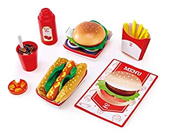 Hape Fast Food Set |Wooden Diner Fast Food Toy Set Classic American Meal for Pretend Play Includes Burger French Fries Hotdogs & Cola