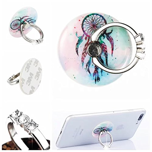 Phone Ring Stand Holder,HAOTP [Removable] 360¡ãRotation Phone Grip kickstand Smartphone Cell Phone Finger Holder for iPhone,Samsung,LG,Almost All Cases/Phones Blue Dream Catcher Mandala Flower