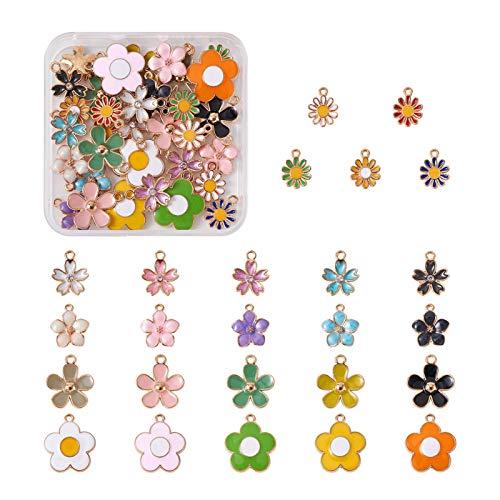 Beadthoven - 50 ciondoli a forma di fiore smaltati, in lega, 5 stili, a forma di margherita, con fiori placcati oro, per gioielli, orecchini, bracciali, artigianato