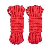 2Paquete 10 M / 33 Pies 8 MM Cuerda multiuso Cordón de cuerda de algodón suave Cordón retorcido de algodón grueso