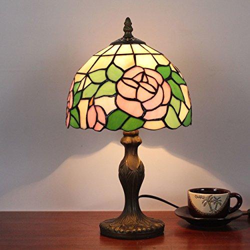 HDO Lampada da comodino con lampada da tavolo antica retrò rosa antico pastorale da 8 pollici