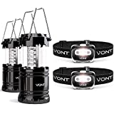 Vont The Ultimate Survival Bundle, 2 LED Lanterns + 2-Pack LED Spark Headlamps - Must-Have Light Set for Every Home, Car - Ideal for Use on Emergencies, Car Breakdown, Outages on Hurricanes, Storms