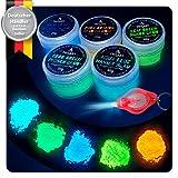 Tritart Fluoreszierendes Pulver Selbstleuchtend   5 x 20g Nachtleuchtende Pigmente   Leuchtpulver Set mit GRATIS UV Lampe