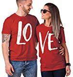 Haase Unlimited Matching Couple LO VE T-Shirt (RED/RED, Mens Medium/Ladies Small)