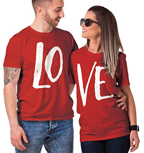 Haase Unlimited Matching Couple LO VE T-Shirt (RED/RED, Mens Large/Ladies Medium)