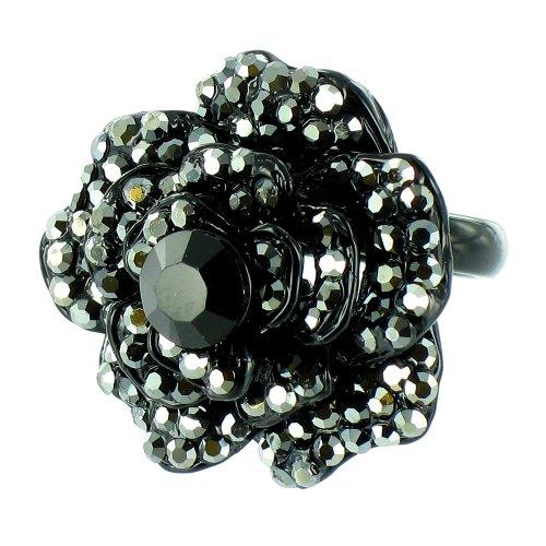 Black Vintage Movie Star Flower Ring