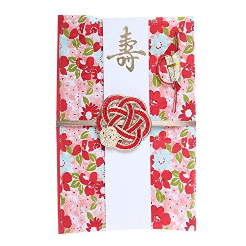 巾着袋に変わるご祝儀袋 結婚御祝用 コットン (花祭り(赤))