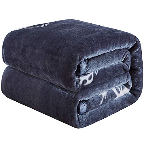 Manta para sofá Manta pequeña Manta para Cama Franela Fleece Manta de Oficina Súper Suave Transpirable y Repelente de Humedad Patrón de Alce Azul cálido 59 * 78.7in