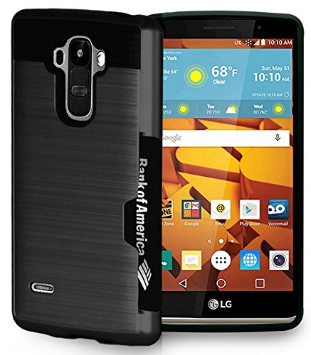 Black Credit Card Slot Hard Case Cover for LG G Stylo (LS770, MS631), LG G Vista-2 (H740), LG G4 Stylus (H631, H634, H635)