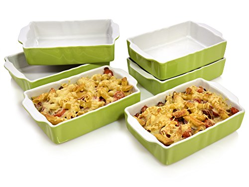 Bluespoon Auflaufformen Set 'Classico' aus Porzellan Grün 6 teilig   Füllmenge 0,7 Liter   Ofenformen zur perfekten portionierung   Ofenfest bis 220° C   20x12x4,5 cm