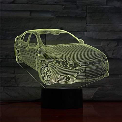 Luz De Noche 3D Illusion Sedan Lámpara 3D Decoración De Dormitorio Regalos Creativos Para Niños Juguete Novedad Luces Linterna Iluminación 1pc