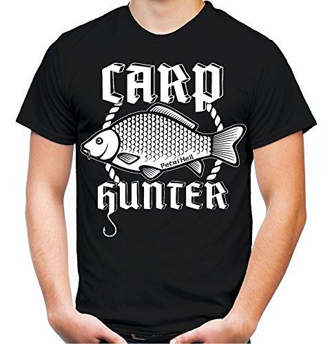 Carp Hunter T-Shirt | Orginal | Angler | Angel | Karpfen | Fisch | Forelle | Hecht | Angeln | Fishing | Fischen | Fun | M4 (L, Schwarz)