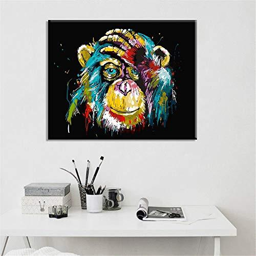 FGHOMEYWZZM Color Monkey Orangutan Pintura al óleo de Alta definición Canvas-738 Core Fabric Only_40 * 60cm