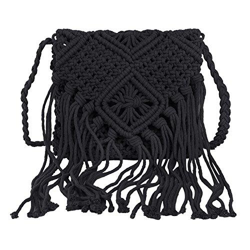 YJZQ - Bolso retro de encaje para mujer, bolsos de playa con flecos, algodón, bolsa de gancho, bolso de mano, viaje, moda, bohemio, monedero Negro small