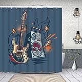 Cortinas de Ducha, diseño Musical Dibujado Guitarra eléctrica y Amplificador. para baño/Bañera Antimoho Impermeables Antibacteriano a Prueba de Polvo y fácil de Limpiar con 12 Ganchos 183 cmx183 cm