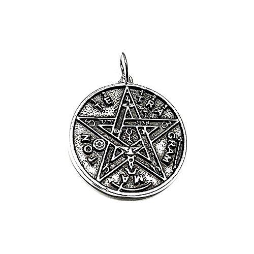 Colgante plata ley 925m 30mm. liso esotérico Tetragramatón estrella [AA7607]
