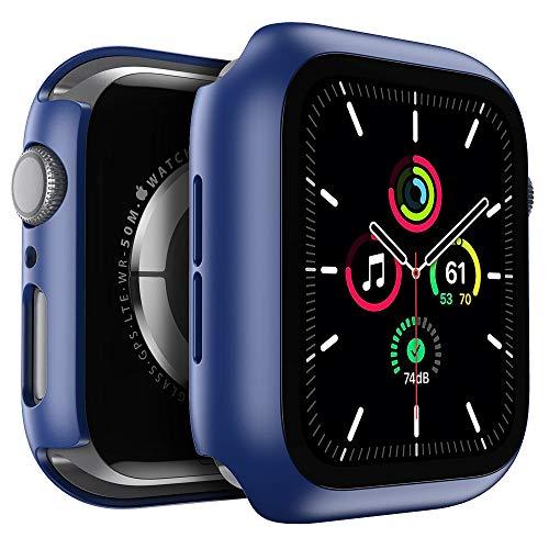 Kensou Hülle für Apple Watch Series 6/5/4/SE 44mm Schutzfolie & Gehäuse Integriertes Formteil, Anti-Kratzer Stoßfest Vollschutz Blasenfreie Hülle für Apple Watch Series 6/5/4/SE - 44mm Blau