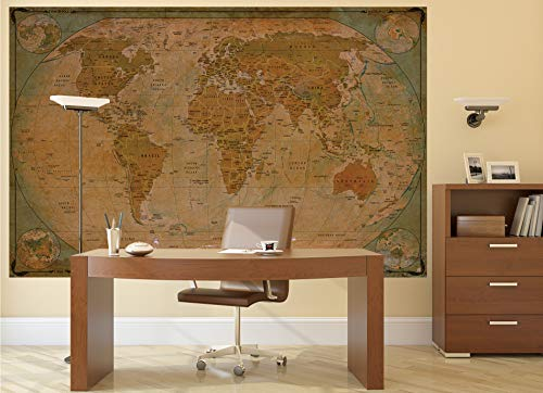 GREAT ART Poster � World Map Antique Style � Picture Decoration Globe Ancient Vintage Card Used Look Atlas Map Old School Image Photo Decor Wall Mural (55x39.4in - 140x100cm) Photo #7