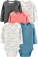 Simple Joys by Carter's Baby 5-Pack Long-Sleeve Bodysuit, Dots/Owl/Print, 6-9 Months