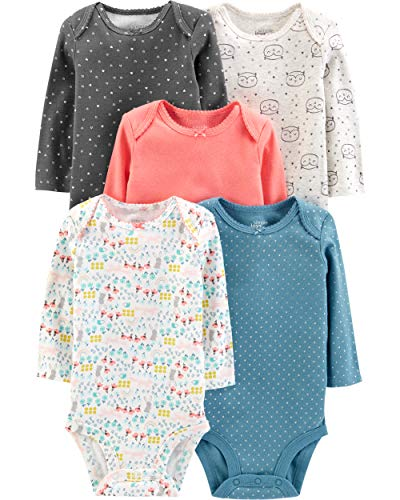 Simple Joys by Carter's Girls' 5-Pack Long-Sleeve Bodysuit, Dots/Owl/Print, Newborn