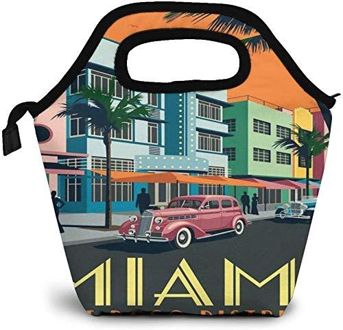 Cartel de viaje americano Miami Bolsa de almuerzo aislada Caja Bento personalizada Enfriador de picnic Bolso portátil Bolsa de almuerzo para mujeres, niñas, hombres, niño
