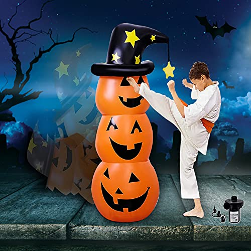 Halloween Inflatables Pumpkin Decorations Outdoor – 4.5 Ft Blow Up Halloween Decorations Clearance with Air Pump,Plastic Pumpkins Tumbler/Decor for Halloween Party/Yard/Outside,Roly Poly Toys for Kid
