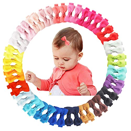 50Pcs 2Inch Mini Hair Clips for Baby Fine Hair Grosgrain Ribbon Hair Bows Clips Fully Lined for Baby Girls Infants Toddlers in Pairs