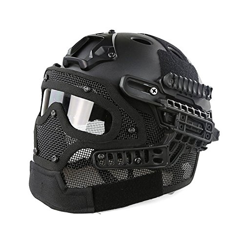 H World Shopping Tactical Protective Helmet Full Face Mask Googgles G4 System Airsoft Paintball Solid Color (Black)