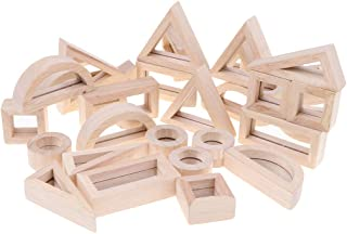 HOMYL Wooden Montessori Toys 24 Pieces Mirror Stacking Blocks Self-Discovery Activity Toys for Kids Children