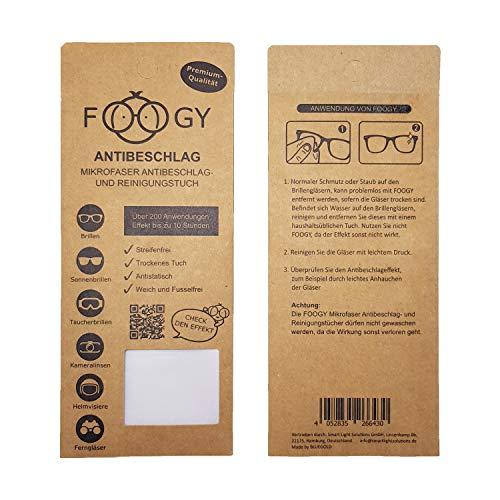 FOOGY gamuza de microfibra antivaho para gafas | paño de limpieza en seco | no se necesitan líquidos adicionales